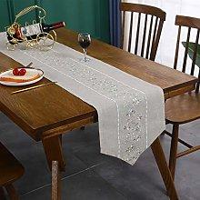 Cotton Linen Center Green Flower Embroidery