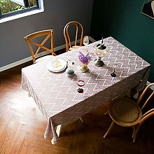 Cotton Linen Jacquard Tablecloth, with Tassel