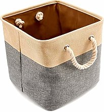 Cotton Linen Storage Basket with Cotton Rope Toy