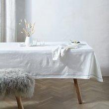 Cotton-linen Table Cloth, White, One Size