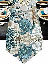 Cotton Linen Table Runner Dresser Scarves Sea