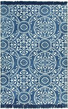 Cotton Pink Rug by Bloomsbury Market - Blue