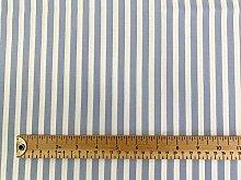 Cotton Poplin Fabric - Pale Blue & White Stripe -