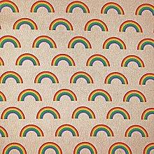 Cotton Rich Linen Look Fabric Digital Rainbow