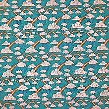 Cotton Rich Linen Look Fabric Digital Rainbows