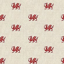 Cotton Rich Linen Look Fabric Novelty Welsh Dragon
