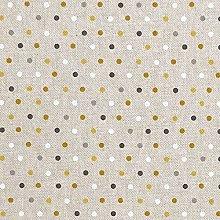 Cotton Rich Linen Look Fabric Ochre Multi Polka