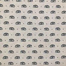 Cotton Rich Linen Look Fabric Vintage Hedgehogs