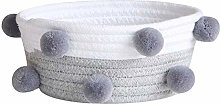 Cotton Rope Storage Basket with Cute Pompoms, Soft