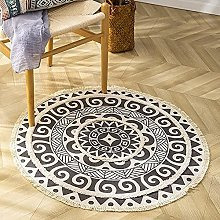 Cotton Round Area Rug with Tassels, Printed