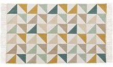 Cotton Rug with Multicoloured Graphic Motifs 60x100