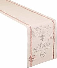 Cotton Table Runner - Red Stripe/Dragonfly Print