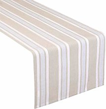 Cotton Table Runner, Striped Blue Machine Washable