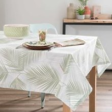 cotton tablecloth with foliage print 250 x 150 cm