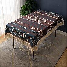 Cotton Tassel Retro Digital Printing Tablecloth,