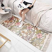 Cotton Woven Small Rug,Soft Hand Woven Tassel Rugs