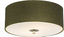 Country Ceiling Lamp 30cm Green - Drum Jute