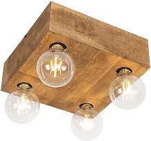 Country ceiling lamp dark wood 4-light - Bloc