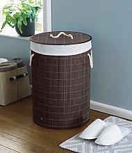 Country Club Round Bamboo Laundry Basket, Dark