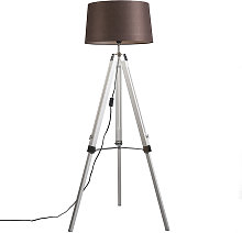 Country floor lamp white with brown linen shade -