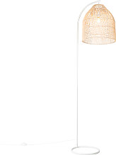 Country floor lamp white with rattan - Sam