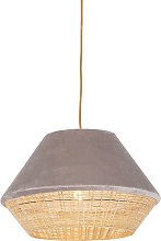 Country hanging lamp beige velvet with cane 45 cm