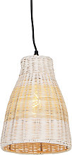 Country hanging lamp white with wood 20 cm - Burn