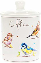 Country Life Birds Fine China Coffee Canister Jar