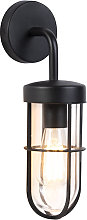 Country Outdoor Wall Lamp Black with Glass - Elza