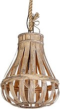Country Pendant Lamp 34cm Wood with Rope -