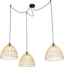 Country Pendant Lamp with 3 Rattan Shades - Cava