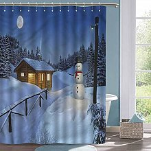 Country Shower Curtain Christmas Rustic Wood Cottage Fabric Shower Curtain