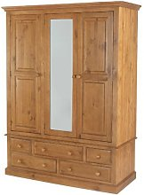 Country Solid Pine Triple Wardrobe with Drawers -