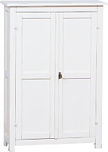 Country-style solid lime wood antiqued white