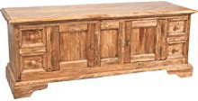 Country-style solid lime wood e natural finish TV