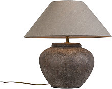 Country table lamp brown with shade- Palma XS