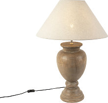 Country Table Lamp with 55cm Linen Shade Beige -