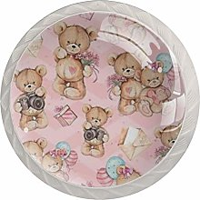 Couple Bear 4 Pack Glass Drawer Knobs- Round Shape