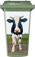 Cow In A Field Wheelie Bin Sticker Panel Large