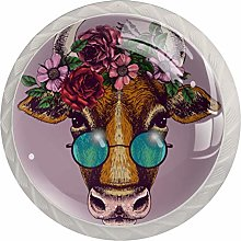 Cow Portrait with Floral Wreath 4 Pack Round
