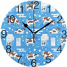 Cow with Milk Round Wall Clock, Silent Non-Ticking