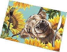 Cow with Sunflowers in Blue Printing Placemats for