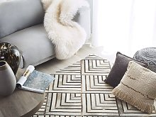 Cowhide Area Rug Beige Leather Patchwork Diamond