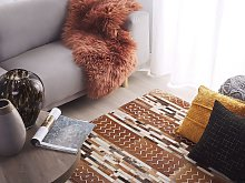 Cowhide Area Rug Brown Hair on Leather Patchwork