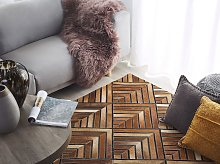 Cowhide Area Rug Brown Leather Patchwork Diamond
