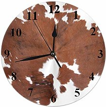 Cowhide Clock Leopard Farm Animal Tri Color Brown