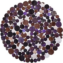 Cowhide Round Area Rug Dots Hair-On Leather ø 140