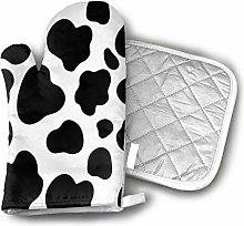Cows Print Men, Ladies, Heat-Resistant Oven Gloves