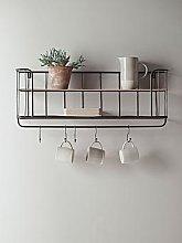 Cox & Cox Industrial Shelf With Hooks
