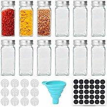 Cozywind Spice Jars 12PCS Square Spice Shaker Set